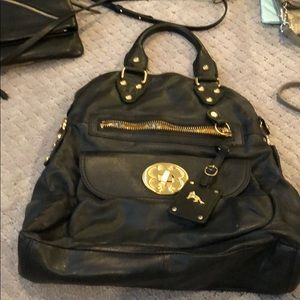 Black leather Emma Fox hand bag
